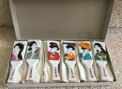 Lot OF 6 CHOP STICK REST HOLDER GEISHA GIRLS MADE IN JAPAN IN ORG BOX FREE SHIP