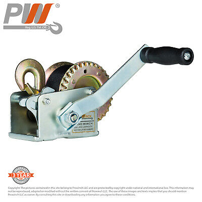 ProWinch Manual Winch 600 lbs. Dual Gear 25 ft Strap and Hook