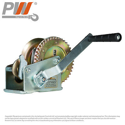 ProWinch Manual Hand Winch 1,200 lbs. Dual Gear 25 ft. Wire Rope