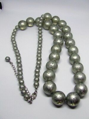 """30"""" Silver Tone Speckled Painted Bead Necklace~7mm & 18mm Clear Lucite Beaded"""
