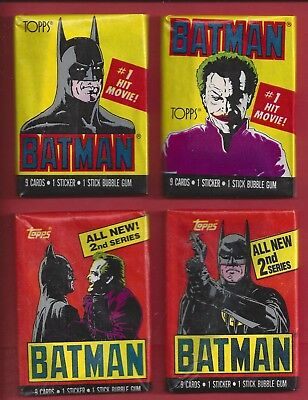 1989 Topps Batman 1st and 2nd series lot of 4 different Wax Packs