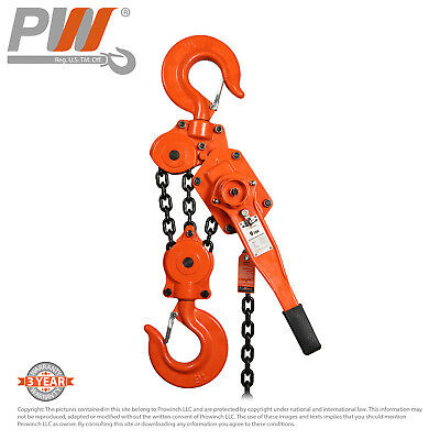 ProWinch Lever Chain Hoist 9 ton 19,800 lbs 3 Falls 5 ft G80 Black Tempered C...