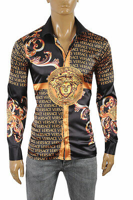 VERSACE Medusa Men s Dress Shirt Long Sleeve Black and Gold color 178 Size M a813f1d5f7b