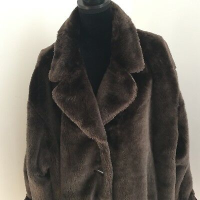 Femme Fausse Fourrure Manteau Marron Brown Teddy Bear Coat M L
