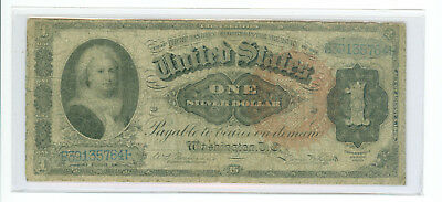 "1886 $1 ""Ornate Back"" Martha Silver Certificate Fr 217 Large Red Spiked Seal"