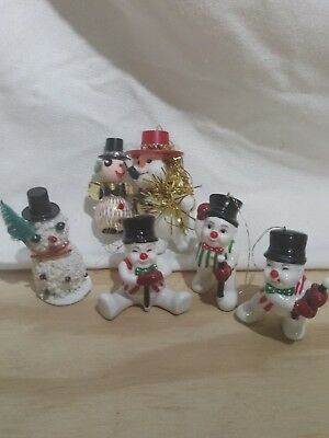 Lot of 6 Vintage Christmas Mixed Snowman Tree Ornaments Flocked Frosty Top Hat