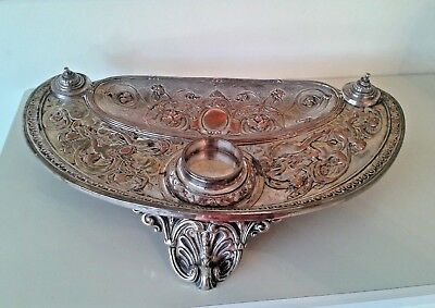 Antique Victorian John Grinsell & Sons Silver Plate Inkwell Stand
