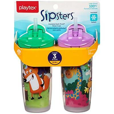 Playtex Sipsters Playtime Insulator Straw Cup, 9 oz, 2 ct