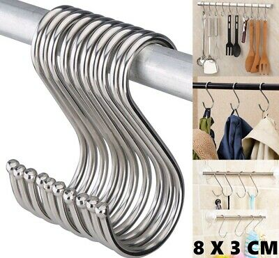 Large 8CM Stainless Steel S Hooks Heavy Duty Kitchen Utensil Clothes Hanger Hook