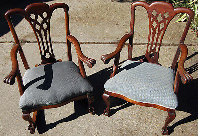 Two Chippendale Style Carved Mahogany Chairs—Arm Chair and Rocker