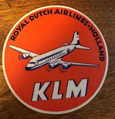 KLM - Royal Dutch Airlines - Holland - gummed label - mint