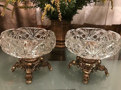 Hollywood Regency Centerpiece Victorian Crystal Compote Cut Etched Octagon Bowl