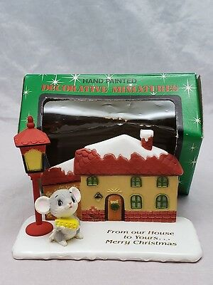"1950s Christmas HAND-PAINTED Plastic House &  Mouse ""From Our House To Yours"" OB"
