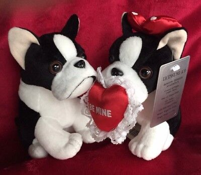 Boston Terrier Valentines Couple Stuffins 1999 With Tags