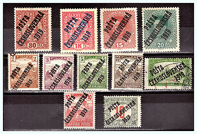 CZECHOSLOVAKIA: 1919 A Lot of OVP on Austria & Hungarian Stamps MLH