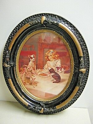"""Vintage Oval Gesso Framed Lithograph """"Asking a Blessing"""" Girl Cats/Dog Art Print"""