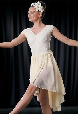 Dance Costume Large Adult Ivory Lace Floral Mesh Lyrical TRIO Competition