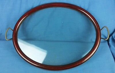 Vintage Wooden Framed Glass And Brass Handle Oval Serving Tray