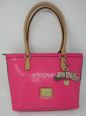 705f0b0a2a New GUESS Hot Pink Specks Tan Gold Glossy Logo Satchel Purse Shoulder Zip  Bag