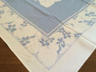 Vintage Tablecloth White Gray Blue Large Leaf & Flowers  48 1/2 L x 51 W Cutter?