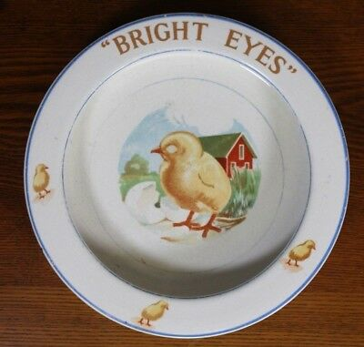 Child's Dish Victorian Antique Ironstone Elpco Bright Eyes Baby Chick Barn Farm