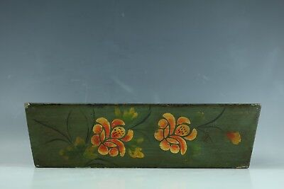 A Mongolian Dark Green lacquer wooden sewing box with flower pattern design