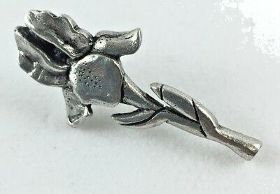 Jim Clift Signed Pewter Tie Hat Tack Lapel Pin - Iris Flower -- Size 1 1/2 x 1""