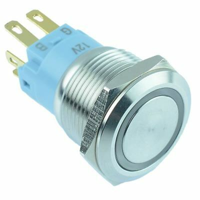 RGB illuminated 19mm Vandal Resistant Latching Metal Push Button Switch 12V