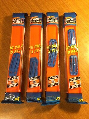 Hot Wheels Straight Track Builder System 4-Pack Over 12 Feet With Connectors NEW