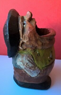 Rare Porte Cure Dents Bois Sculpte - Art Populaire - Autriche - Collector -1950