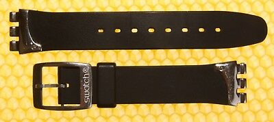 20mm SWATCH Resin Watch Strap Band BLACK Swiss Made <GOOD USED>