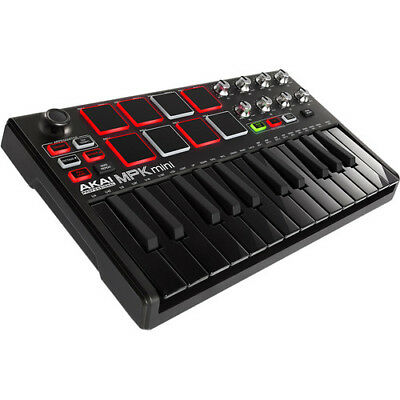 Akai Professional MPK mini MKII - Compact Keyboard and Pad Controller (Black-on-