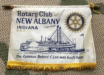 Vintage Rotary Club Of New Albany Indiana USA Banner Robert E. Lee Boat Ship
