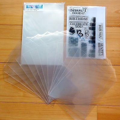100 x LARGE STAMP STORAGE POCKETS CLEAR PLASTIC PACKAGING 100 MICRON  - NEW