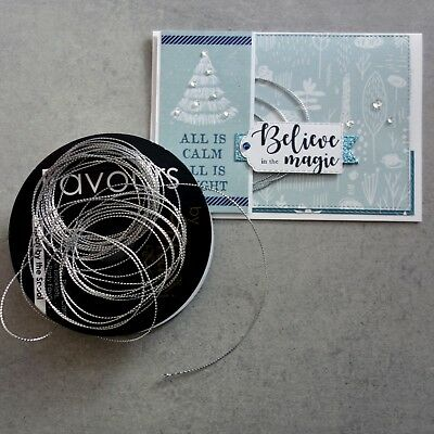 """Metallic Cord 0.5Mm """"silver"""" Rat Tail Non-Stretch 16Mtr For Cardmaking Craft"""