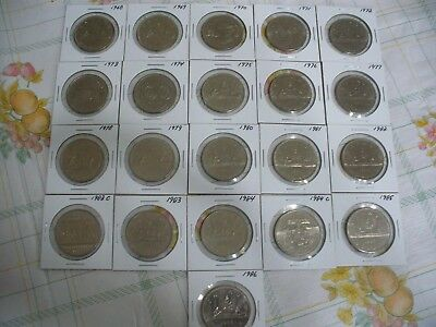 Lot Of 21  Canada 1968 - 1986  Nickel  1 $  One  Dollar  Coins   See Photos