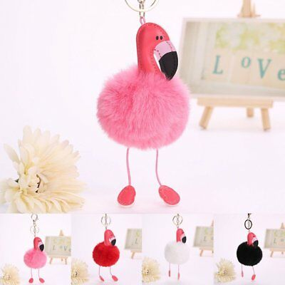 Women Flamingo Keychain Fluffy Ball Key Chain Women Car Bag Pendant Key Ring CA