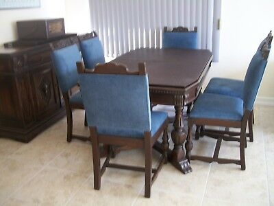 Fabulous Vintage Dining Room Set Table 6 Chairs Hutch & 3 Pads Upland CA Pickup