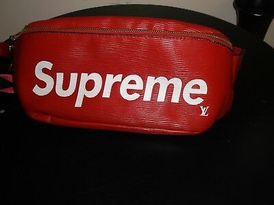 aaf0fcb2215 LOUIS VUITTON LV x SUPREME Box Logo Epi Leather Red White Travel Waist BAM  BAG