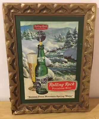 Rolling Rock Beer Framed Sign Cardboard Plastic