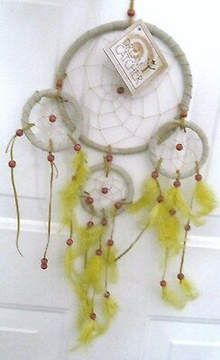 """DREAM CATCHER Suede Rawhide Bead Feather Decor Ornament Hand Made 16"""" Yellow-Tag"""