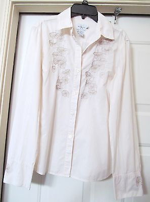 0adf8a06 CALVIN KLEIN Jeans Blouse Shirt Top Embroidered 100% Cotton L/S ECRU Women's  M