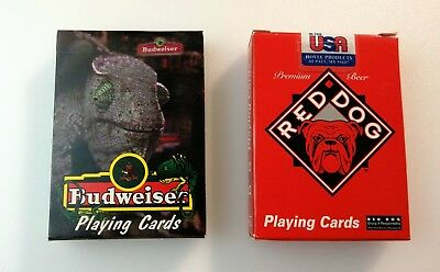 Vintage Decks of Playing Cards Budweiser Lizard & Red Dog Plank Road Brew. Beer