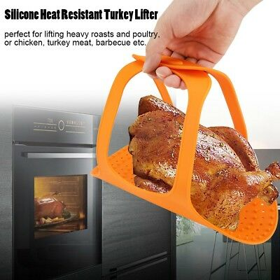 Large Heat Resistance Silicone Turkey Poultry Lifter Non-stick Oven Barbeque Mat