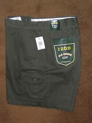 NEW IZOD CARGO SHORTS Mens Size 48 Olive CHINO FLAT FRONT 100% COTTON  Free Ship