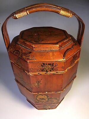 Antique wood Chinese Asian tiered Level Wedding Basket Food Container tiered Vtg