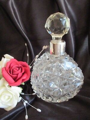 Lovely Antique Sterling Silver & Crystal Large Perfume Bottle Birmingham 1907