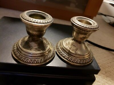 """Pair of Crown Weighted Sterling Silver Candlestick Candle Holders 2.5"""" Antique"""