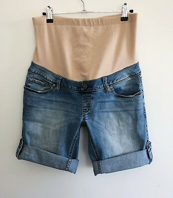 Jeanswest Women's Size 8 Maternity Rolled Up Denim Shorts Blue Over Belly Band