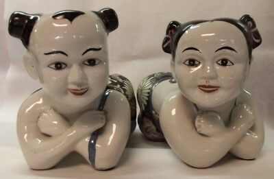 Vintage Pair Of Large Chinese Boy & Girl Pillow Head Rest Figures